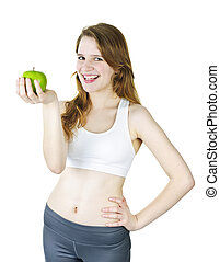 Young smiling girl holding apple - Healthy happy young woman...