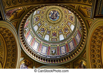 St. Stephen Basilica Dome - View of the interior dome of the...