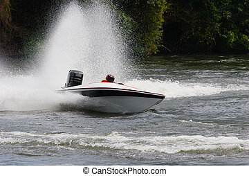 Speed Boat - A speed boat on the river