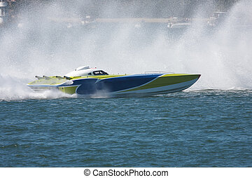 Powerboat - A Powerboat racing across the water