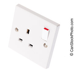 Plug Socket - A UK plug socket with the switch in the on...