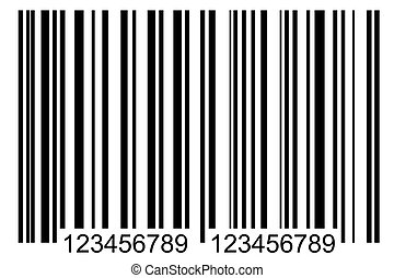 bar code label - front view of simple black barcode, tag for...