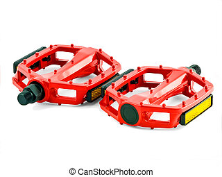 cycling pedals - red cycling pedals isolated on white...
