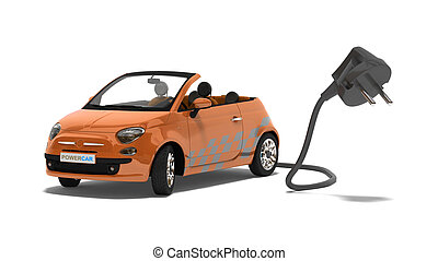 Hybrid car with his outlet on white background