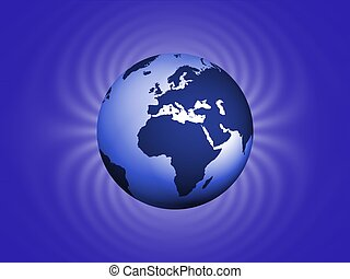 Magnetic earth - Illustrated planet earth with magnetic...