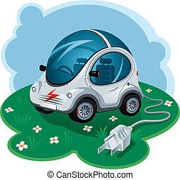 Electric Car - Green Energy Car Vector Illustration