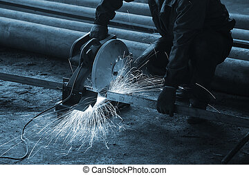 Processing of metal at a modern factory