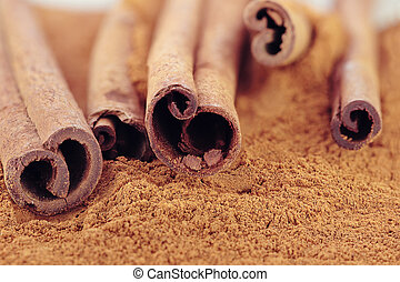 Cinnamon bark and ground cinnamon. Selective focus with...