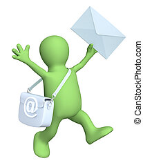 Email - 3d puppet a symbol email and letter Isolated over...