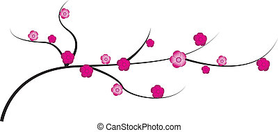 Cherry twig with flowers - Vector illustration of cherry...
