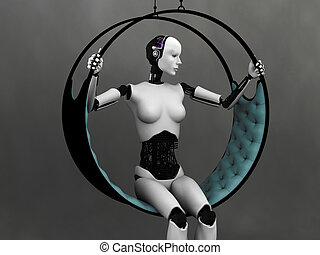 Robot woman sitting in futuristic hammock.