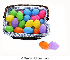 colourful basket of easter eggs