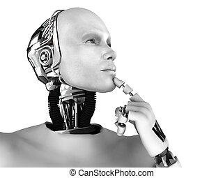 Male robot thinking about something. - A male robot thinking...
