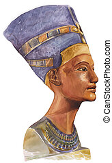 Queen Nefertiti - Painting portrait illustration of ancient...