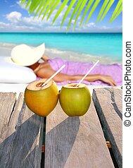 cocos, mulher, sol, bronzeando, tópico, praia
