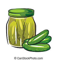 u0441anned pickles - vector image of canned pickles in the...