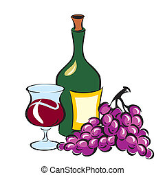 Wine and Grapes - vector image of Wine and Grapes