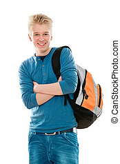 high school student smiling. Isolated on the white...