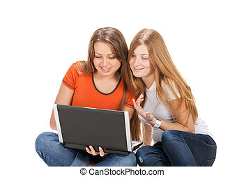 two young happy student girl work on laptop computer...
