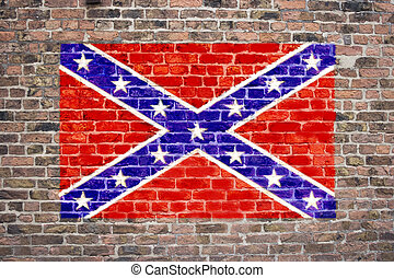 Confederate Flag - Confederate flag sprayed on brick wall