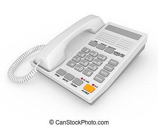 Modern white office telephone