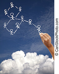 Hand drawing social network and cloud computing concept on the blue sky