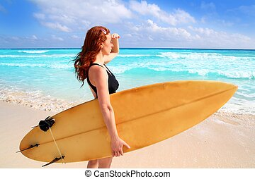 side view surfer woman tropical sea looking waves - surfer...