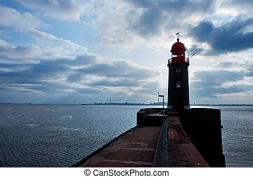 lighthouse over blue sky in Bremerhaven, Germany