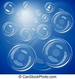 Bubbles over blue