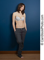 Woman in lingerie - Beautiful young woman wearing a casual...