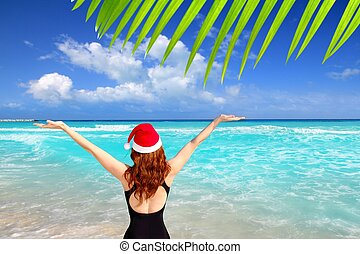 santa woman tourist christmas caribbean vacation - american...