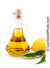Oil and lemon - An image of a bottle of olive oil and lemon