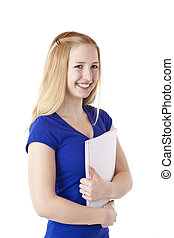 Young, beautiful female student with notepad smiling happy