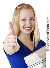 Beautiful happy student shows thumb up