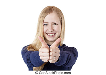 Young, blond, beautiful woman shows smiling both thumbs up