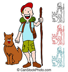Man Hiking with Dog - An image of a man hiking with his dog