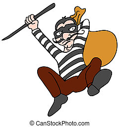 Robber Escaping with Bag of Stolen - An image of a robber...