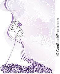 womens silhouette on purple - silhouette of a slender woman...