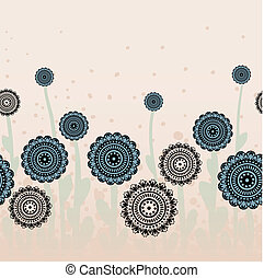 beige background with blue flowers - stylized blue and black...