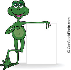 Frog with a white banner - green frog specifies in the white...