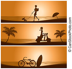 Sunset banner set - Illustration vector