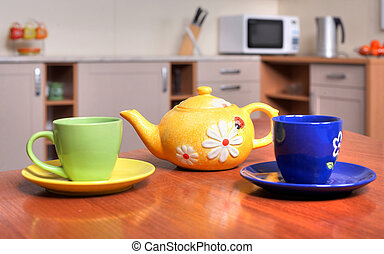 Teacups - An image of yellow teapot and green and blue...