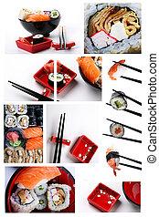 Sushi set - Stock Photo: Asia and food: set of shushi