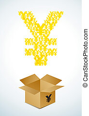 Box with yen - Illustration of a cardboard box with yen