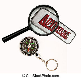 Journey - Magnifier and compass on white background