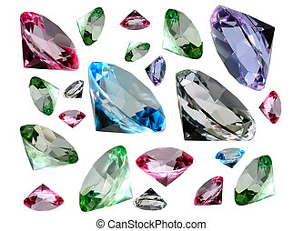 Coloured crystalls - An image of coloured crystals isolated...