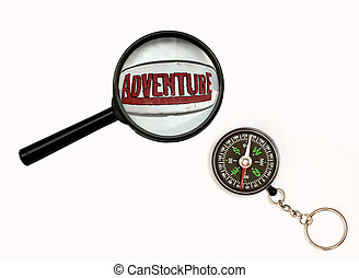 Travel - An image of magnifier and compass