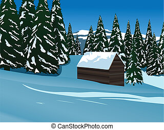 mountain idyll - vector vintage wooden mountain cottage...