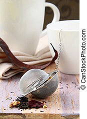 tea strainer with a fragrant tea - tea strainer with a...
