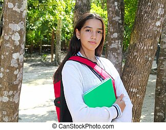 hispanic latin teenager girl backpack in Mexico park -...